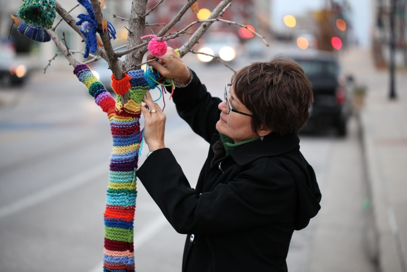 gingko tree yarn bomb